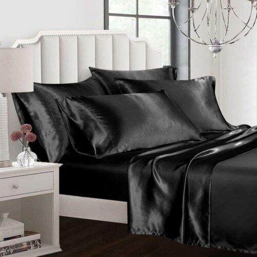 black satin silk sheets buy online