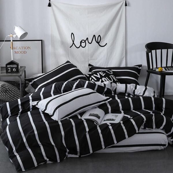 black white vertical striped bed set
