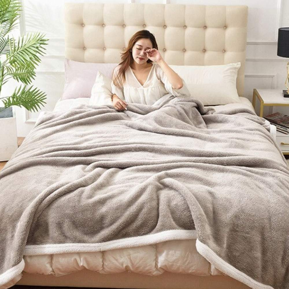 buy silver fluffy blanket
